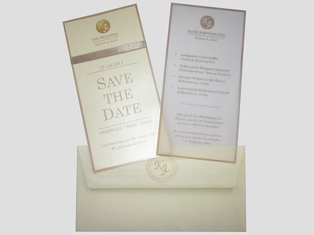 Hochzeitskarte Auf Perlmutt  Und Transparentpapier Mit Goldener  Heißfolienprägung